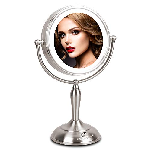 Lighted Makeup Mirror - 1x/10x Magnifying Mirror with Light, 7.5 Inch Lighted Vanity Mirror, LED Natural White Light, Double Sided With Stand, AC Adapter Or Battery Powered (Best Way To Close Pores)