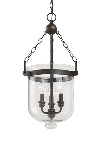 Sea Gull Lighting 65046-715 Westminster Three-Light Pendant with Clear Glass Shade, Autumn Bronze Finish