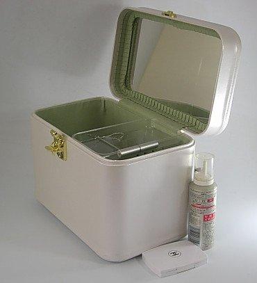 日本製 メイクボックス(コスメボックス) パールカーフ33cmヨコ パールホワイト  化粧入れ、メークボックス B01KJ0Z8WA