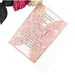 FEIYI 25 pieces Laser Cut Lace Pattern Wedding Invitations Cards For Wedding Baby Shower Rehearsal Dinner Invites Birthday Invitation (Pink)