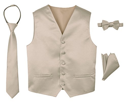 Spring Notion Boys' 4-Piece Satin Tuxedo Vest Set 10 Champagne