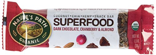 Nature's Path Organic Qi'a Gluten-Free Superfood Snack Bar, Dark Chocolate Cranberry Almond, 16.1 Ounce, 12 Bars