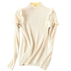 Dissa F5062 Women Loose Knitted Sweater Turtle Neck Long Sleeve 100 Cashmere Sweater Pullover White S Uk 6