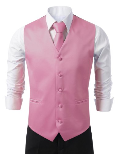 Pink Tuxedo - IDARBI for MEN 3 Pieces Set Solid Formal Tuxedo Vest Set / PINK-MEDIUM
