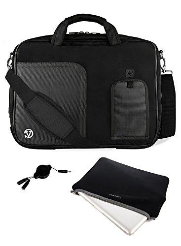 Vangoddy DF_000001076 Pindar Universal Laptop Messenger Bag with Neoprene Sleeve and Headphone Splitter Bundle Package, 13-14