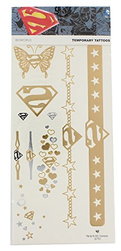 [DC Comics Superman Temporary Tattoos Jewelry Costume Pack New Licensed] (Superman Other Costumes)