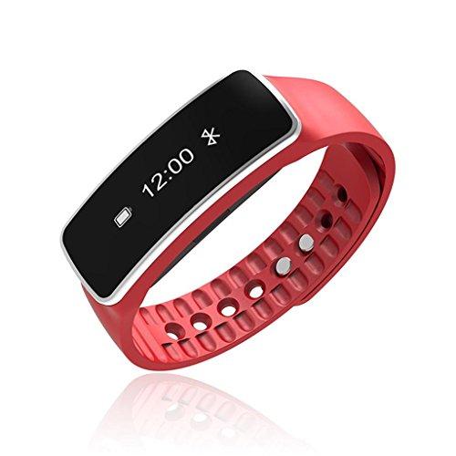 QINSmart Bracelet Bluetooth Gift Sleep Monitor Sport Bague de marche imperméable à l'eau , red