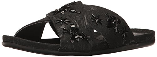Kenneth Cole REACTION Women Slim Slip X-Band Upper and Cute Bug Jewels-Fabric Flat Sandal Black