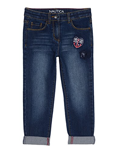 Nautica Little Girls' Girlfriend Denim with Patches and Sequins, Dark Wash, 5 (Jeans Pants Sequin)
