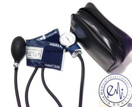 Elite Medical Instruments ® Blood Pressure Bp Monitor Set Bulb, Gauge, with Infant-size Cuff. Includes Convenient Carrying Case.