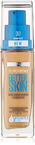 Maybelline New York Superstay Better Skin Foundation, Warm Nude, 1 Fluid Ounce