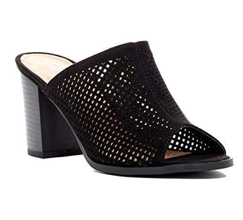 Top Moda Womens Myth Laser-Cut Chunky Heel Mule Black bZcXdkp