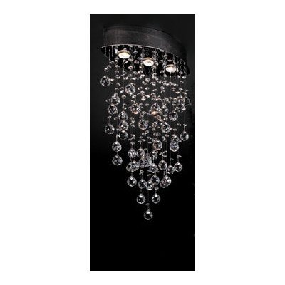 PLC Lighting 81621 PC Drizzle Collection 3 Light Ceiling Light, Polished Chrome