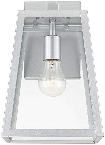 Arrington Modern Outdoor Wall Light Fixture Sleek Silver Steel 13'' Clear Glass for Exterior House Porch Patio Deck - John Timberland by John Timberland (Image #3)