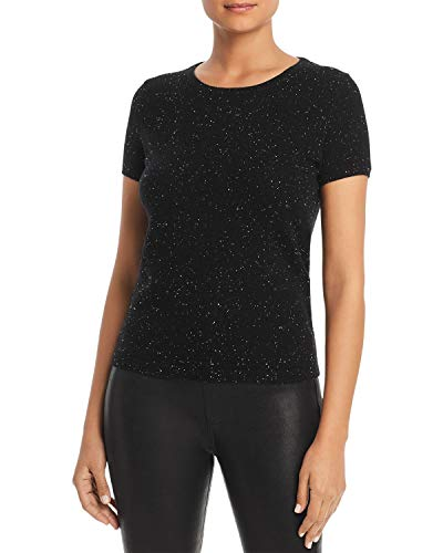 Bloomingdales Cashmere - C by Bloomingdale's Cashmere Sequin Tee, Black, Small
