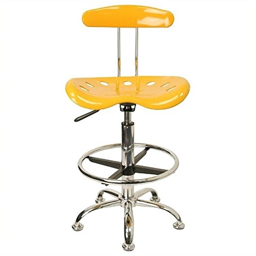 Scranton and Co Drafting Chair with Tractor Seat in Yellow