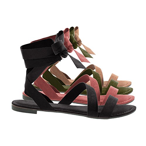 Womens Open Toe Leg Wrap Lace Up Flat Sandal Black F-suede