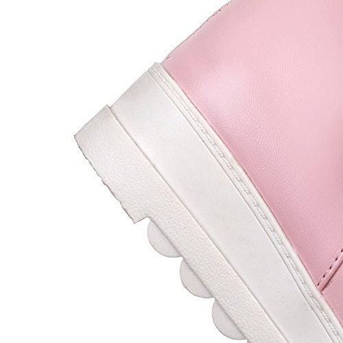 Suave Tacón Medio AllhqFashion Baja Mujeres Sólido Botas Cremallera Caña Material Rosa Rq7SC