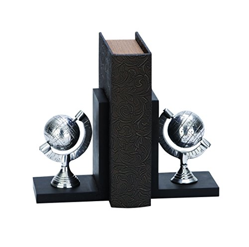 Deco 79 Aluminum Globe Poly-Stone Bookend, 7 by 5-Inch