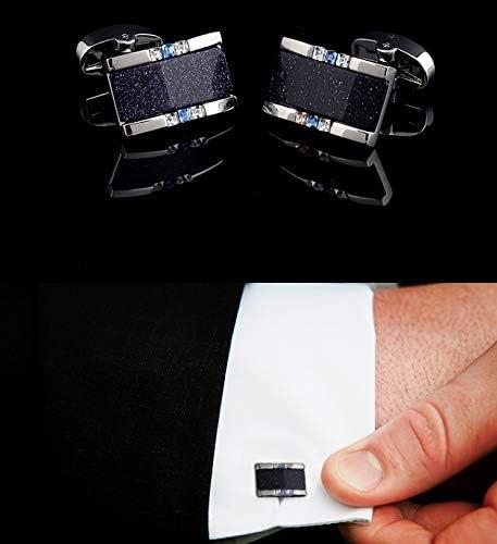Versatile Rectangular Blue Sand Stone Cufflinks French Shirt Buckle Mens Sleeve NAI Classic Design MSchunou Temperament Versatile Business Shirt Shirt Cufflinks Distinguished Texture