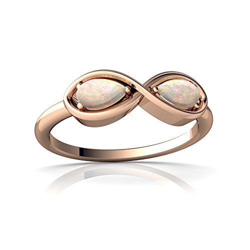 14kt Rose Gold Opal 5x3mm Pear Infinity Ring - Size 6