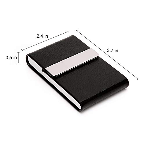 DMFLY Business Card Holder Case - PU Leather Business Card Case Name Card Holder Slim Metal Pocket Card Holder with Magnetic Shut, Black