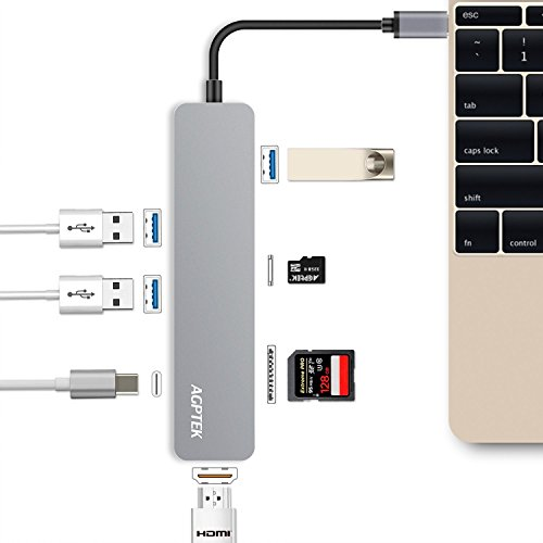 AGPTEK USB C Hub, 7-in-1 Multi Port Adapter with Type C Charging Port, HDMI Port, SD/TF Card Reader, 3 USB 3.0 Ports Aluminum Design for MacBook,SAMSUNG,Chromebook And More Type C Device (Silver) by AGPTEK