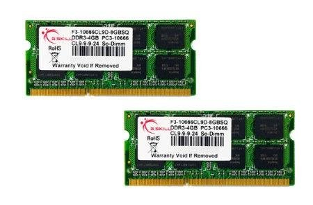 G.SKILL F3-10666CL9D-8GBSQ 8GB (2 x 4GB) 204-Pin DDR3 SO-DIMM DDR3 1333 (PC3 10666) Laptop Memory Model