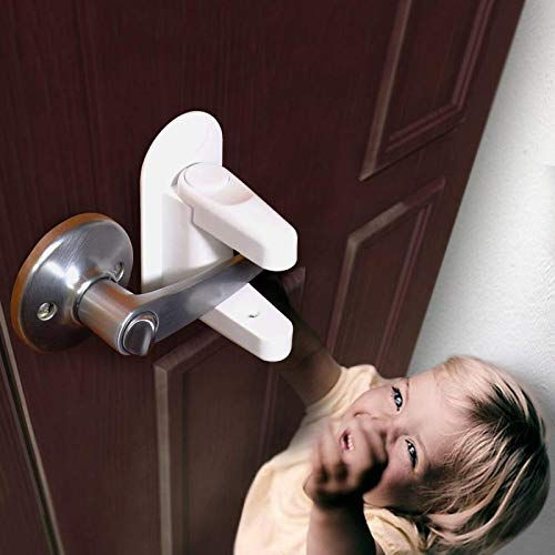 Door Lever Lock Child Safety Proof Doors Handles Lock & Handles 3M Adhesive White (4 Pack) by Kimmyi (Image #6)