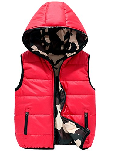 - Mallimoda Boys' Lightweight Hooded Puffer Down Vest Jacket Waistcoat Double Side Wear Red 13-14 Years