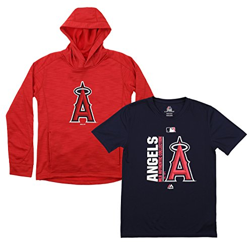 Outerstuff MLB Youth Primary Icon Hoodie and Tee Combo, Los Angeles Angels Medium (10-12)