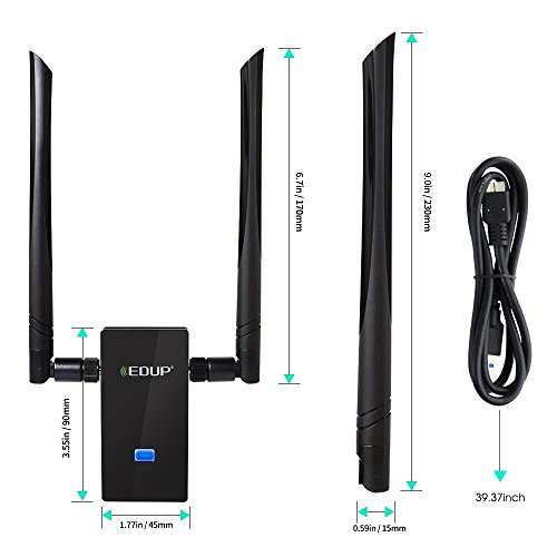 EDUP WiFi Adapter AC1200Mbps 802.11ac Long Range Wireless Network Adapter Dual Band 5Ghz 2.4Ghz 6dBi Antenna for PC Windows XP,10,8.1,7,Vista, Mac OS 10.6-10.15