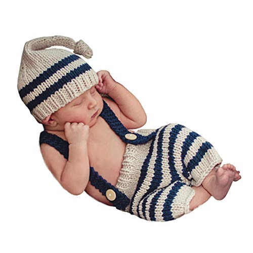 ISOCUTE Newborn Photography Props Baby Boys Photo Shoot Long Tail Hat Beanie Overalls Blue Stripes Set