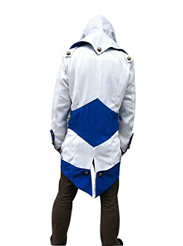 DAZCOS US Size Multicolor Killer Cosplay Coat Kenway Hoodie/Jacket (Men XS, White+Blue)]()