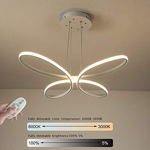 - LED Ceiling Pendant Light Hanging Lamp Modern Creative Butterfly Ring Design Matte White Aluminum Shade Height Adjustable Chandelier for Living Kitchen Dining Room Bar, Dimmable with Remote Control