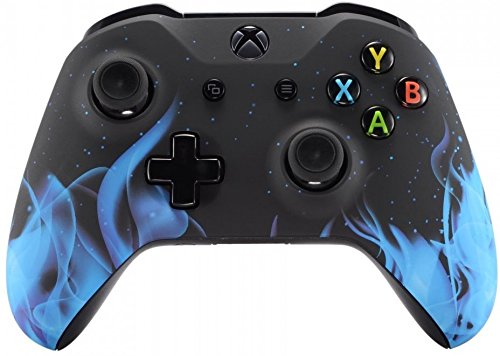 Xbox One Wireless Controller for Microsoft Xbox One - Custom Soft Touch Feel - Custom Xbox One Controller (Blue Flame) (Blue Controller)