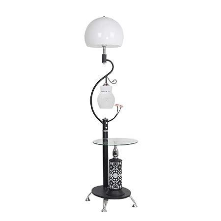 YOYO Lámparas de pie Habitación Lámpara de Luz Viviente Piso Dormitorio con la Mesa de Cristal Lámparas de iluminación Creativa decoración de la lámpara lámparas de pie para (Color : Black): Amazon.es: