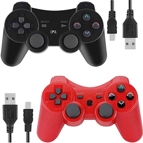Wireless Controllers for PS3 Playstation 3 Dual Shock, Bluetooth Remote Joystick Gamepad for Six-axis with Charging Cable,Pack of 4 (Red and Black1)