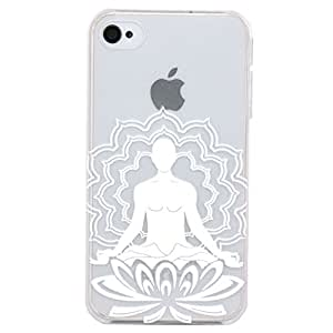 JIAXIUFEN Henna Indian Buddhism Hindu Impreso patrones teléfono caso difícil cubrir volver piel protectora Shell Carcasas Funda para Iphone 4s 4