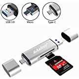 Type C Card Reader USB C Asltoy SD Card Reader TF USB C Card Adapter,Simultaneous Read and Write,Flash Memory Card Reader with OTG Function for PC,MacBook,Chromebook,Windows (Silver)
