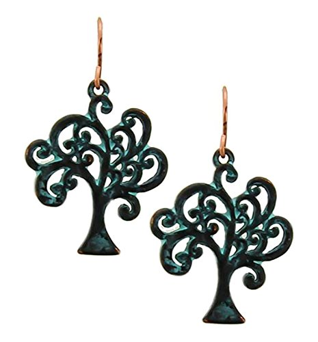 Lovely Patina Tree Of Life Dangle Earrings