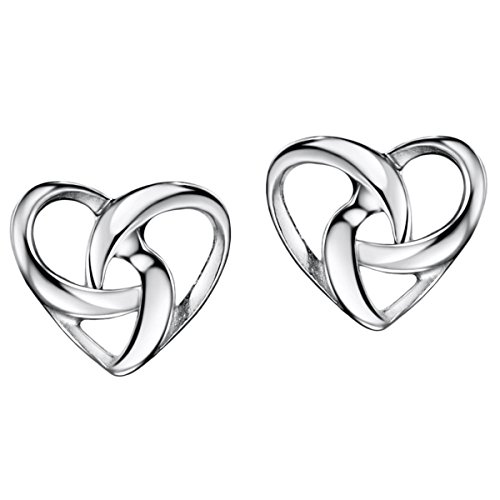 Mints Sterling Sliver Heart Earrings Stud Twisted Knot Jewelry for -
