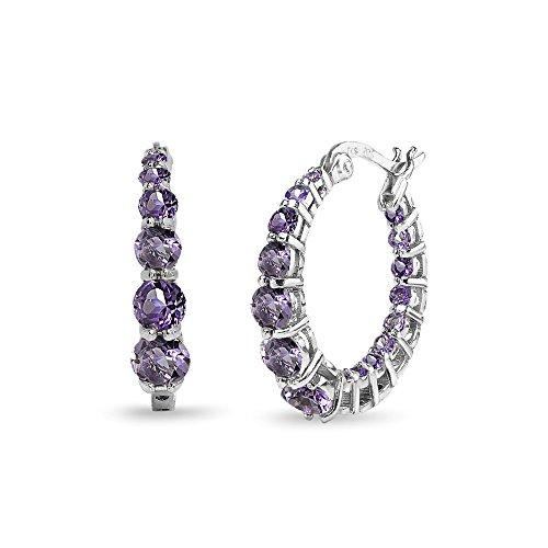 Earrings Journey Necklace - Sterling Silver Amethyst Journey Inside Out Round Hoop Earrings