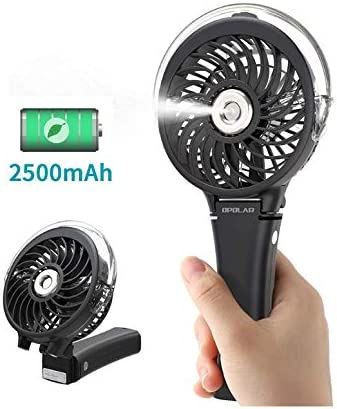 Black Feceyq Travel Fan with Cooling Humidifier Handheld Spray Fan Folding Desktop Small Fan Humidifier Spray Air Moisturizing Portable Student Charging Cooling Fan