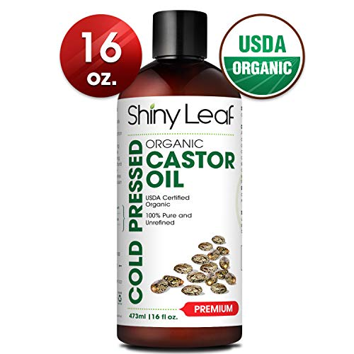 Castor Oil USDA Organic (16oz) Cold-Pressed 100% Pure Castor Oil, Hexane-Free For Hair Growth For Dry Skin, Hair Care & Eyelashes Natural Moisturizing & Healing Caster Oil by Shiny Leaf (Coconut Oil And Castor Oil Hair Growth)