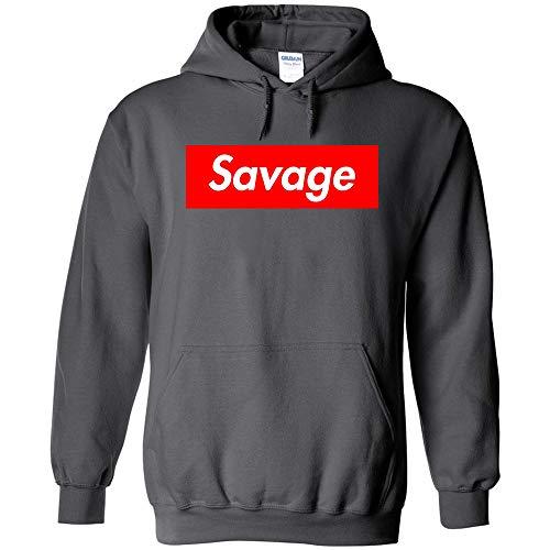 - TShirtGuys Savage Red Box Logo Kids Hoodie (Medium, Charcoal)