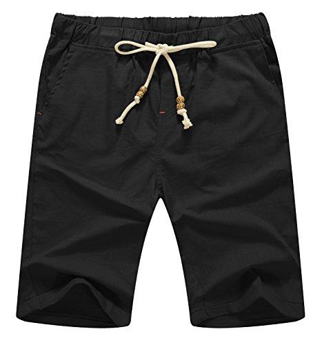 NITAGUT Men's Linen Casual Classic Fit Short (S(US 31-33), 011Black)