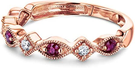 Kobelli Alternating Ruby and Diamond Rose Gold Ring