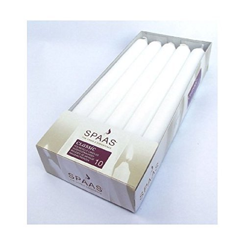 Classic Dinner Candles - 10 Classic White Dinner / Table Candles - 24cm - 8 Hour Burn - Non Drip by Spaas