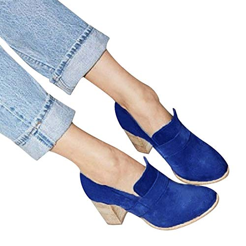 Women Slip on Suede Shoes Chunky Heel Pumps Pure Color High Heel by Lowprofile Blue